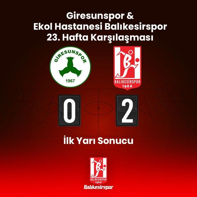 Balıkesirspor İlk Yarıyı 2-0 Önde Kapattı